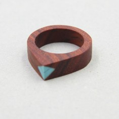 Rosewood with Turquoise Gemstone Ring