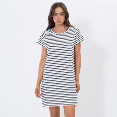 White Stripe Tee Dress