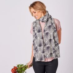 Limited Edition Merino Scarf - Paper Daisy in Charcoal on Natural