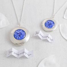 Personalised Blue Cornflower Locket Necklace