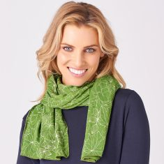 Limited Edition Merino Scarf - Glenwood Summer White/Tree Green