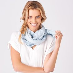 Glenwood Summer Merino Scarf In White/Sky Blue
