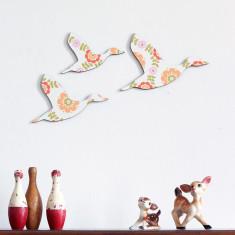 Trio of flying ducks in orange, green & pink flowers