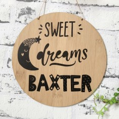 Personalised monochrome sweet dreams bamboo wood wall hanging