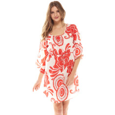 Coast Kaftan Red/White