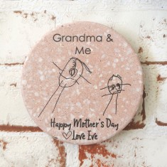 Personalised Terrazzo drink coasters with your child's hand-drawn image (set of 2)