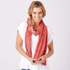 Glenwood Summer Merino Scarf In White/Vermillion