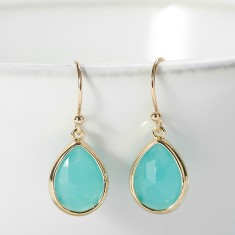 Teal gold-plated teardrop earrings