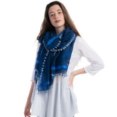 Handcrafted silk and cotton pompom stripe scarf in cream and blue