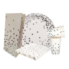 Silver confetti party sets