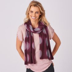 Limited Edition Merino Scarf - Shibori Moonphase in Plum/Dove