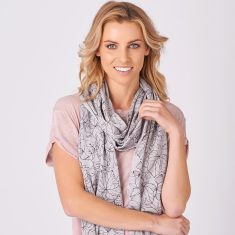 Glenwood Summer Merino Scarf In Plum/Dove Grey