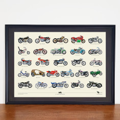 A to Z of classic motorcycles poster