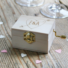 Personalised Couple's Heart With Initials Music Box