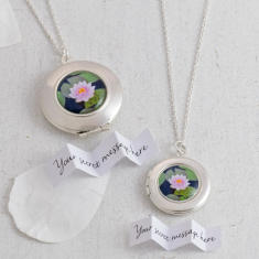 Personalised Water Lily Locket Necklace