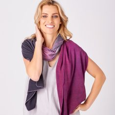 Limited Edition Merino Scarf - Dip Dyed Plum/Charcoal