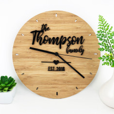 Personalised Black Script Family Bamboo Wall Clock