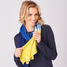 Dip Dyed Merino Scarf In Inky Blue/Sunshine