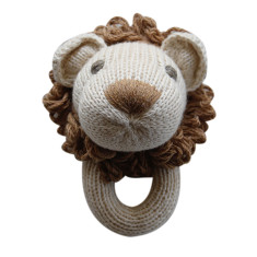 Leo the lion knitted rattle