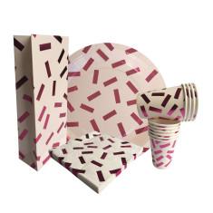 Pink metallic confetti party sets