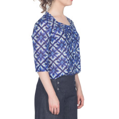 Blue silk cotton mid sleeve top