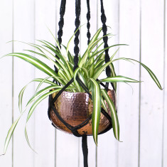 Macrame Hanger with Copper Bowl