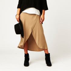 Wrap Skirt in Beige