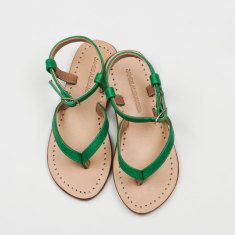 Siena girls' sandals in emerald leather