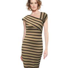 Lancaster striped ponti a-symmetrical neckline fitted dress in black tan