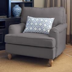 Charcoal linen roll arm chair