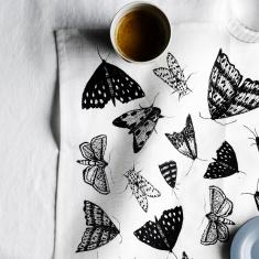 Black Moths linen napkins (set of 4)