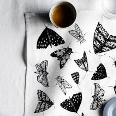 Black Moths linen napkins (set of 4)