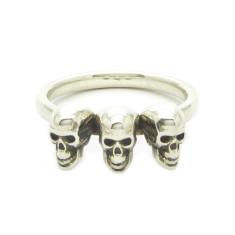 Silver Calvariam Triplex Skull Ring