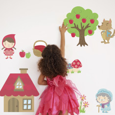 Fairytale Little Red Riding Hood fabric wall stickers