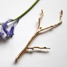 Large gold branch bridal hair pin