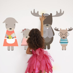 Moose family fabric wall stickers
