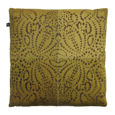 Punto loco cowhide cushion cover in ochre