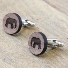 Elephant cufflinks in walnut timber