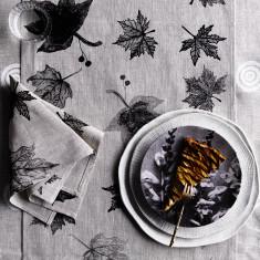 Black Leaves linen table runner