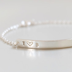 Personalised couple's initials silver heart bracelet
