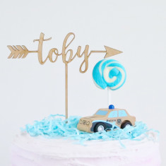 Rustic/Boho Personalised birthday arrow cake topper