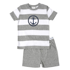 Grey Stripe Anchor tee & shorts