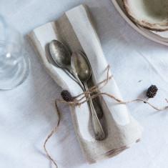 Beige & white stripe & white linen napkins (mixed set of 8)