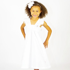 Girls' white strap dress