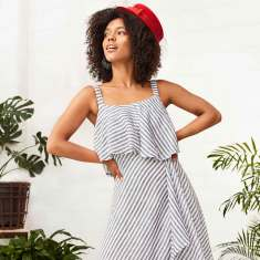 Vergara striped frill linen sleeveless midi dress in navy white stripe print