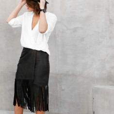 Camilla Leather Fringe Skirt