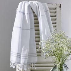 Wategos Turkish Towel - White/Antique Grey