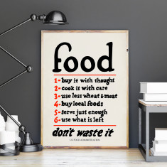 Food Rules Vintage Art Print