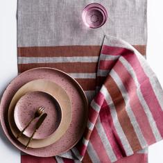 Rose, Blush & Dust Stripe linen table runner