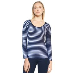 Navy white stripe long sleeve reversible stretch jersey top
